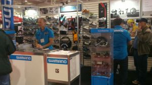 Shimano on display at the Bicycle Show.  John & Jeff answering questions for cycling enthusiasts.